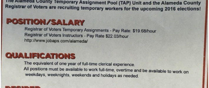 Temporary Workers needed for the upcoming 2016 Elections.